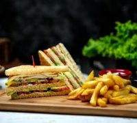 club-sandwich-with-side-french-fries